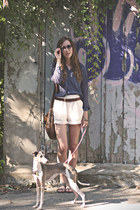 white lace H&M shorts - deep purple sheer Forever21 blouse - dark brown vintage