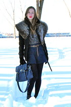black Gap coat - navy high waisted Forever21 shorts - tan fur stole vintage acce