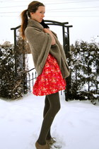 red flower Forever 21 dress - light brown cape