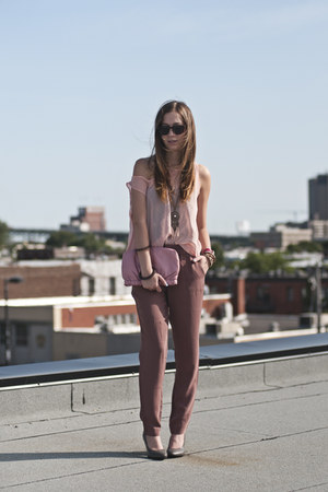 light brown Gap pants - pink sheer American Apparel top - heather gray H&M heels
