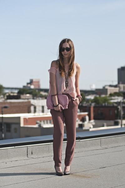 light brown Gap pants - pink sheer American Apparel top - heather gray H&M heels