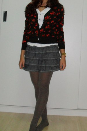 floral cardigan - pantyhose socks - blouse - ladylike skirt - gold Swatch watch
