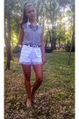 Striped-h-m-shirt-white-diy-shorts-beige-atmosphere-flats