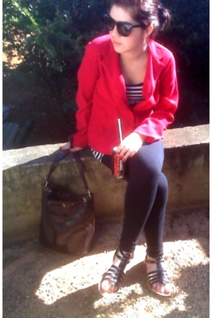 blazer - leggings - shoes - sunglasses - purse