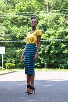 striped Forever 21 skirt - Forever 21 blouse - Camilla Skoovgard heels