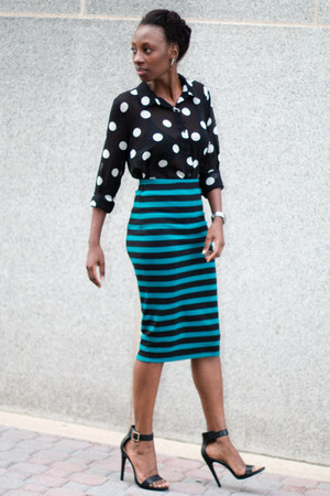 polka dot Forever 21 blouse - stripe Forever 21 skirt - GoJane sandals