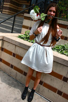 white American Apparel dress - Pina Colada boots - crimson The Limited belt
