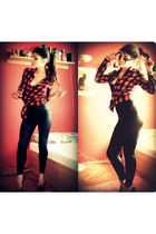 red flannel unknown brand blouse - black unknown brand leggings