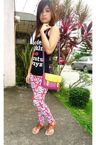 leggings - bag - top - sandals
