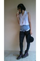 crimson Dr Martens boots - black H&M hat - charcoal gray New Yorker leggings