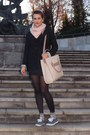 Black-bershka-blazer-black-zara-shirt-light-pink-wool-bought-online-scarf