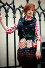 Black-owl-punkfish-dress-red-checkered-denimco-shirt