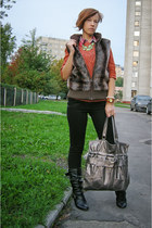 black barratts boots - red striped denimco shirt - brown faux fur Gloss vest