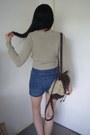 Shorts-cropped-bershka-sweater-fluffy-backpack-topshop-bag
