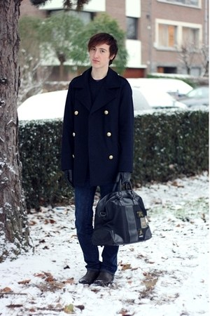 navy LaRedoute coat - navy energie jeans - black Jack&amp;Jones bag - black Scapa bo
