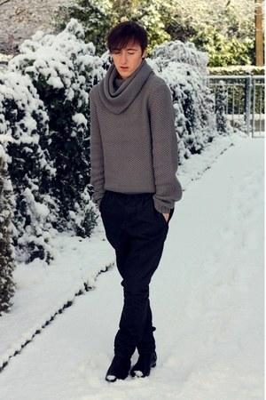 black Zara boots - black asos pants - heather gray asos jumper