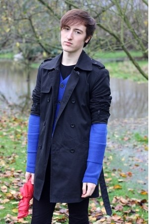 black 3Suisses coat - blue H&M cardigan - black Diesel pants