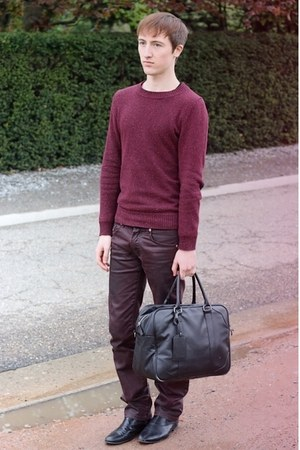 black Zara bag - black H&amp;M boots - crimson Zara jeans - crimson H&amp;M jumper