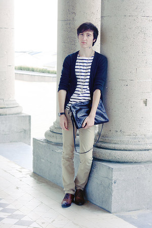 navy Esprit cardigan - navy COS t-shirt - beige Topman pants - burnt orange asos