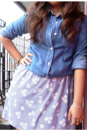 sky blue random brand dress - navy denim Old Navy blouse