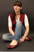 red Hand Made vest - white Target shirt - blue Holister jeans - red thrifted sho