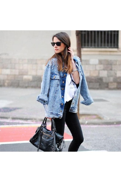 sky blue Zara jacket - black Mango bag - black Ray Ban sunglasses