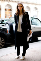 black Mango coat - black Zara bag - white Zara top
