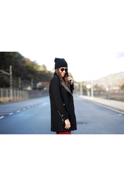 black Zara coat - ruby red H&M pants