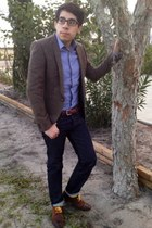 gold Aldo shoes - navy Japanese selvedge jeans - brown Asos tweed blazer