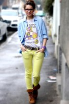 vintage t-shirt - Pull and Bear shoes - Bershka jeans - vintage shirt