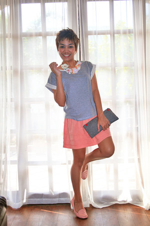 dark gray bag - light orange Topshop skirt - light pink Sole Sister flats
