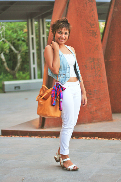 white jeggings Regatta jeans - light orange Zara bag