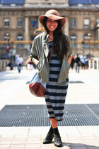 brown floppy Topshop hat - black boots - stripes Forever 21 dress