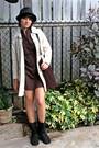 Black-pacsun-hat-brown-marshalls-dress-beige-gap-coat-black-jcpenny-boots-