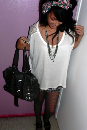 white Forever 21 blouse - gray Urban Outfitters - pink Forever 21 accessories -