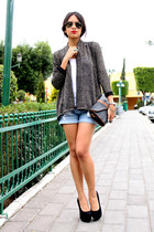 black sparkly Bershka blazer - brown vintage purse - Oysho shorts