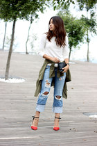 sky blue ripped pull&bear jeans - army green PERSUNMALL coat