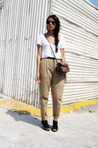 camel Zara pants - white Zara t-shirt - black Zara sandals