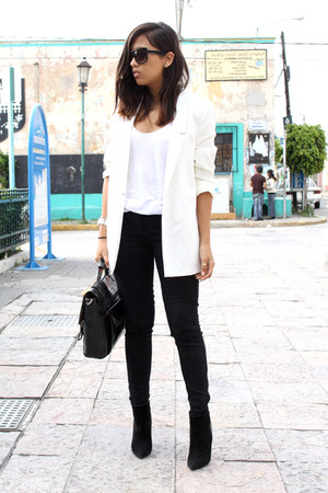 black Zara boots - white pull&amp;bear blazer - black Zara pants