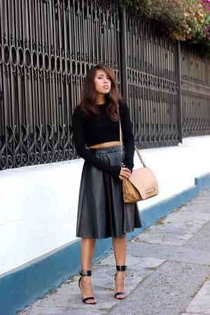 black Zara heels - camel Zara bag - black cropped Zara top
