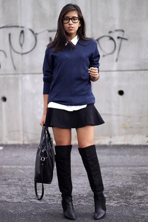 black Zara boots - navy from my mom sweater - black Zara skirt