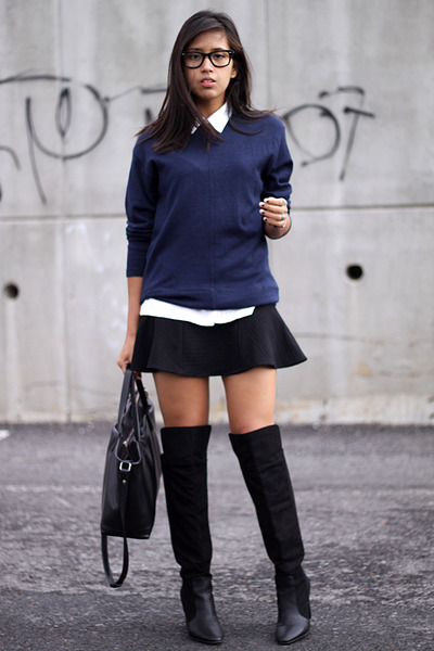 black Zara boots - navy from my mom sweater - black Zara skirt
