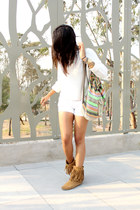 white Zara sweater - bronze pull&bear boots - white Bershka shorts