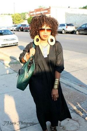 black American Apparel bodysuit - green vintage Philippe Charriol bag