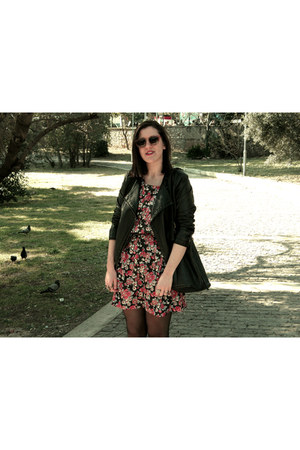 black leather jacket - floral vintage dress - black leather vintage bag