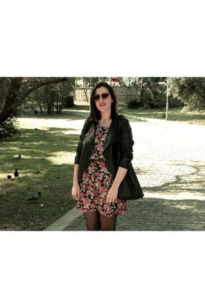 black leather jacket - floral vintage dress - black leather vintage bag