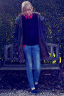 Gray-topshop-coat-blue-zara-jeans-navy-hollister-sweater