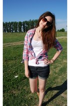 Zara top - new look shoes - New Yorker shirt - Zara shorts - H&M sunglasses