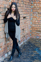 black boots - black tights - black scarf - New Yorker sunglasses - black blouse