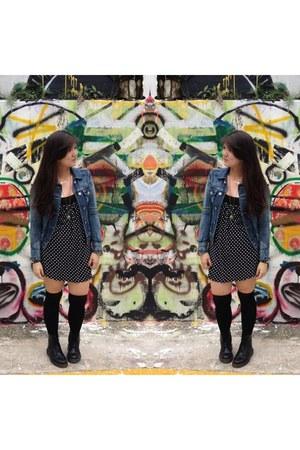 black Dr Martens boots - black cotton on dress - black H&M socks